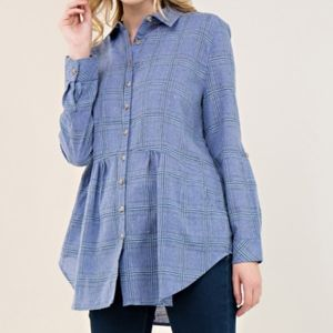 Bella Plaid Peplum Button Up Flannel Tunic Blouse